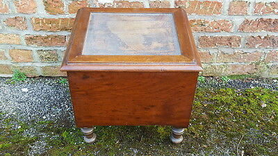 An Antique Victorian Era Mahogany Boxed/Footstool Commode with Ceramic Pot & Lid