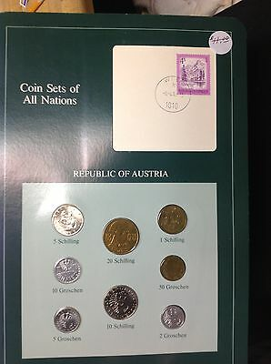 Austria Coin Sets of All Nations UNC,Carded with Stamp