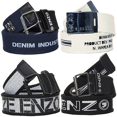 New ENZO Designer Mens Canvas Belts Womens Unisex Adjustable Buckle Webbing Belt