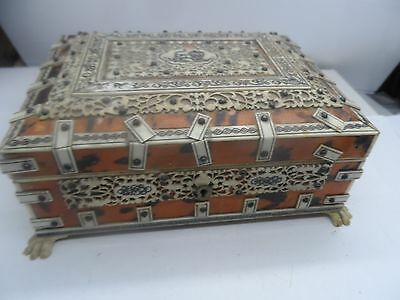 Unusual Superb Carved 19th Century Faux Tortoiseshell Indian Trinket Box