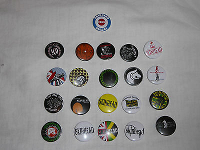 21 X 25Mm Collection Of Skinhead Button Badges - New