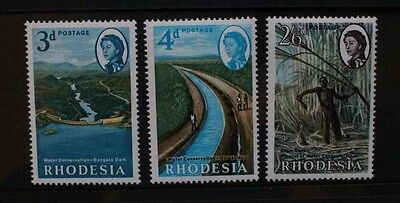 RHODESIA 1965 Water Conservation. Set of 3. Mint Never Hinged. SG354/356.