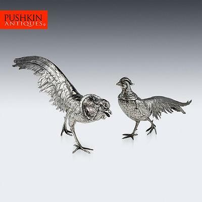 ANTIQUE 20thC GERMAN SOLID SILVER PAIR OF PHEASANT STATUES c.1900