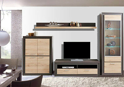wohnwand anbauwand mit vitrine 4 teilig anthrazit eiche sanremo neu 449733 eur 269 00. Black Bedroom Furniture Sets. Home Design Ideas