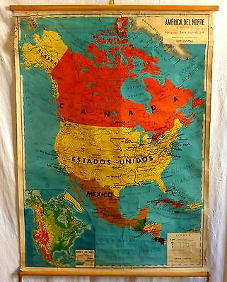 VINTAGE ROLL SCHOOL MAP AMERICA NORTH - CENTRAL / 1958 ANTIQUE POSTER 88x120Cm