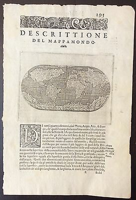 Original antique 1572 map of the world by Tomasso Porcacchi