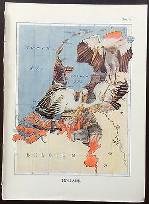 Very rare 1912 caricature map of Holland drawn by Lillian Tennant