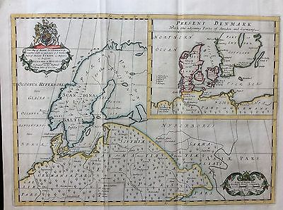 c.1712 Map of Scandinavia by Edward Wells with an insert of Denmark
