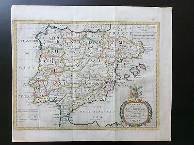 c.1712 Map of Spain and Portugal by Edward Wells