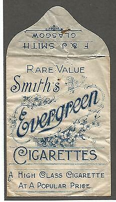 F & J SMITH cigarette packet c1904 EVERGREEN