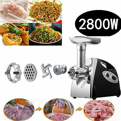 New 2800W Kitchen Steel Electric Meat Mincer Grinder Sausage Maker Filler Black