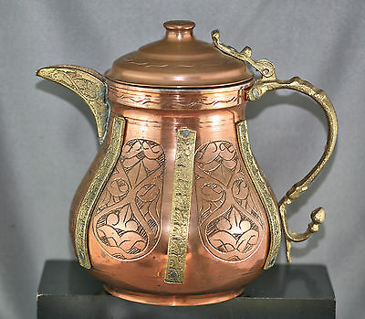 Vintage Ornate Copper Teapot Decorated In Brass Silver Lined Made In Turkey