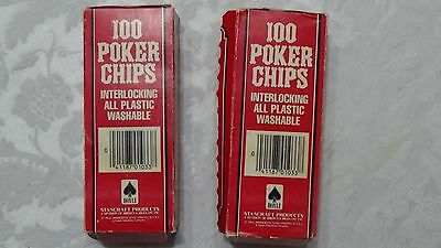 Vintage 200 POKER CHIPS ~ red white blue Hoyle Stancraft in boxes