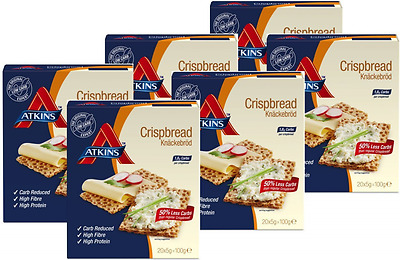 Atkins 100g Crispbread, Pack of 6, Low Carb Food Diet Snack Meal Weight Fat Loss