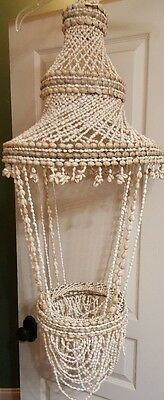 """Vintage Large SeaShell Sea Shell Hanging Planter 45"""" TALL ~ Two Available"""