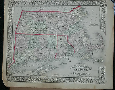 MITCHELL hand colored County Map State of Massachusetts & Connecticut circa 1871