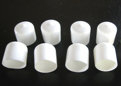 "8 - 1"" White Vinyl Round End Caps 1.0""  Plastic Rubber Pipe Tube Rod Bar Cap"