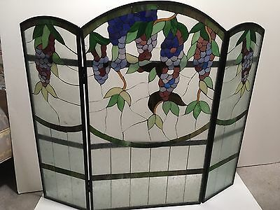 Beautiful Stained Glass Fireplace Fire Screen EUC