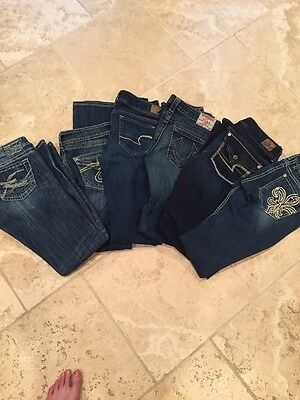 Lot Of Name Brand Jeans Miss Me, Silver, True Religion And More