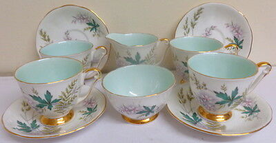 Vintage Queen Anne 'louise' Pattern Mint & Gold Harlequin Teaset /coffee Set
