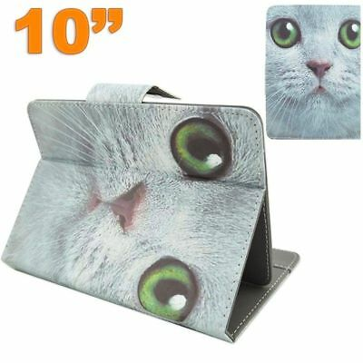 Housse universelle protection tablette 10.1 pouces support horizontal chat blanc
