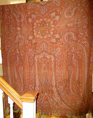Lovely Antique Paisley Wool Long Shawl with 7 Colors -- no central field