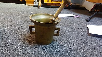 Vintage Large Brass 1903 dated Apothecary Mortar and Pestle