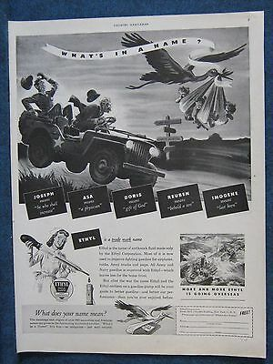 1944 Humorous WW2 Jeep Related Ad  Doctor Trying To Beat Stork To Deliver Babies