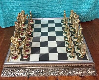 Lovely Rare Metallic Indian Themed Chess Set & Board
