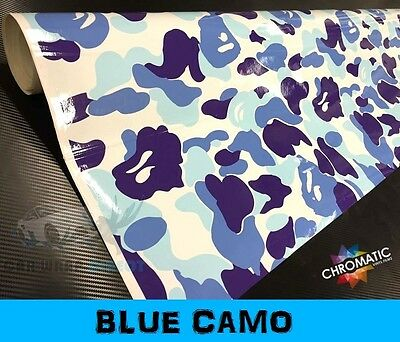 Blue Camouflage Vinyl 152 x 30cm Sheet - Bubble Free Camo Car Wrap Sticker Foile