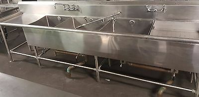 John Boos Stainless Steel 4 Compartment Commercial Sink with Two Drainboards