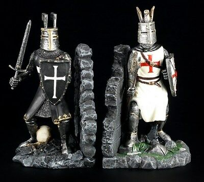 Bookends Pair Knight Figures - Crusader Templar Templar Knight