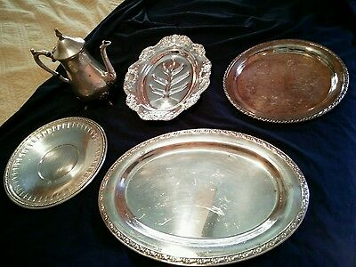 4) silverplated trays and 1) teapot (oneida, reed & barton 1202 )