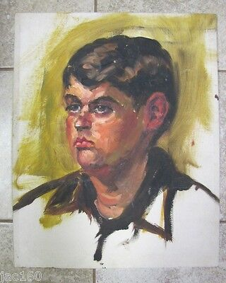 Vintage Oil Painting GOSTON? PORTRAIT OF A BOY on Board