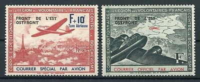 FRANCE 1942 Corps des Volontaires Ostfront ovpts pair MNG Airmail Aviation Plane