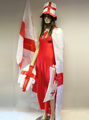 England Rugby Football 6 Nations Large Flag 5' x 3'  Hat Cape  Hand & 2 Batons