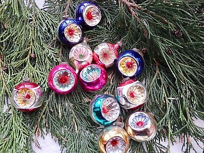 12 Vintage Mercury Glass Concave Christmas Tree Baubles Decorations Xmas