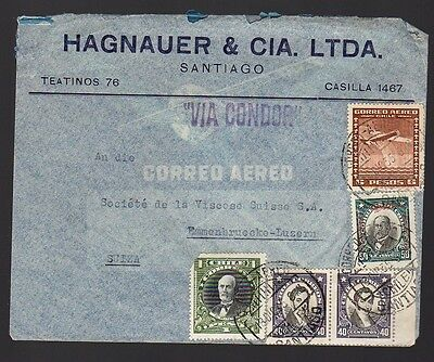 CHILE 1935 Commercial Air Mail Cover to Switzerland VIA CONDOR