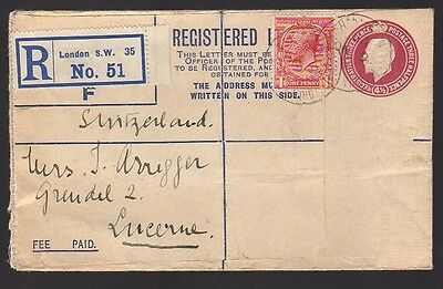 GB GREAT BRITAIN Registered Uprated Postal Cover