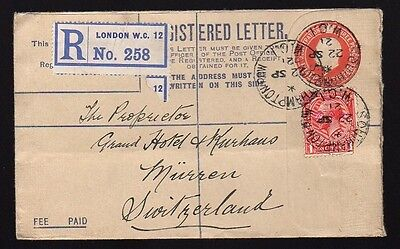 UK GREAT BRITAIN 1921 Registered Uprated Postal Stationery Cover SOUTHAMPTON WCI