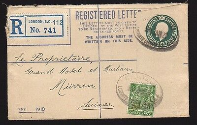 UK GREAT BRITAIN 1921 Registered Uprated Postal Stationery Cover LONDON Perfin