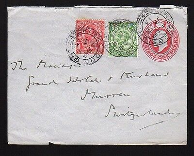 UK GREAT BRITAIN 1913 Uprated Postal Stationery Cover KIRKCUDBRIGHT to Swiss