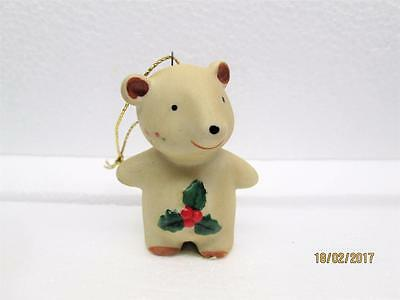 Vintage Homco Porcelain Ceramic Christmas Bear Ornament Made In Taiwan