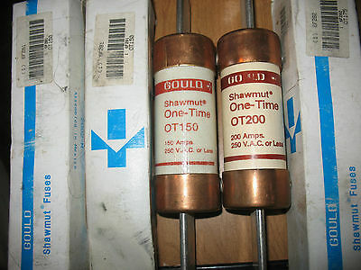 Lot of 5 Gould Shawmut One Time Fuses - (3) 150A (1) 175A (1) 200A