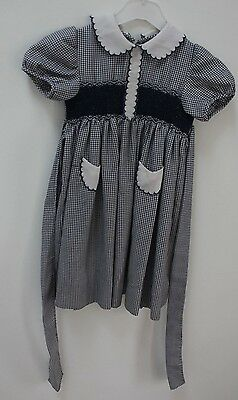 Beautiful Blue & White 70's Handmade Smocked Dress for Age 2 to 3 years old
