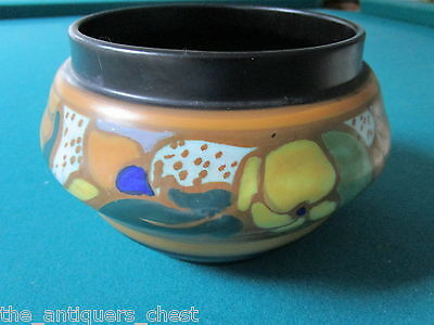 "ROYAL ZUID GOUDA HOLLAND POTTERY HAND PAINTED SIGNED ""Elkaf"", small jardiniere[1"