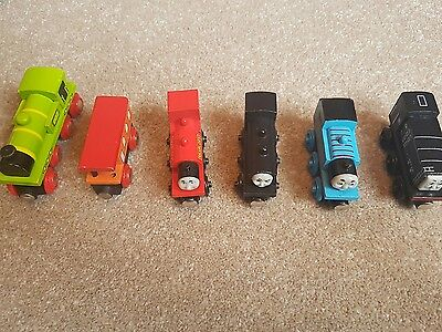 Thomas and friends wooden trains x 4 plus another brio type train with carriage