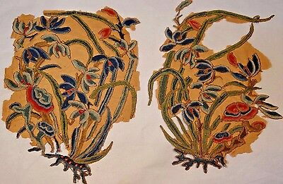 19th C.Qing [Ching] [Ch'ing] Dynasty Chinese Silk Embroidered Floral Elements