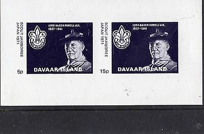 Scout Stamps Davaar island Imperforate Black Print UM