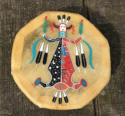 Navajo Hand Painted Cochiti Drum-Native American-Navajo Mother Earth Father Sky